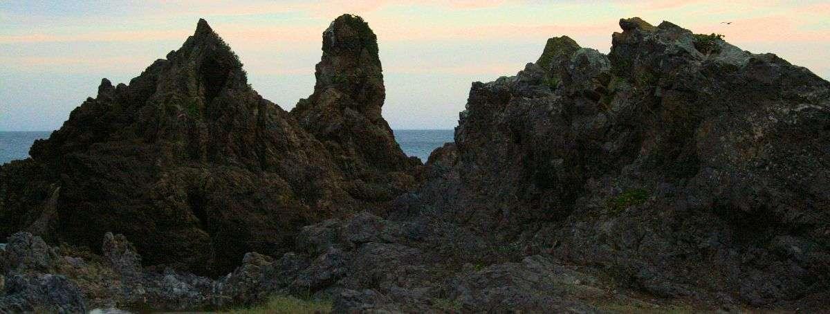 Dark rocks look bleak