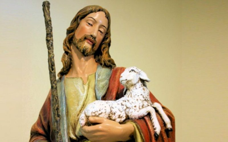 Jesus the Good Shepherd holds a lost loved one